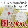 【送料無料】 国産 もち麦&押はだか麦 媛もち麦 食べ比べセット 1kg×2袋